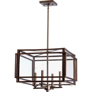 Kaufmann Oiled Bronze Four Light Entry Light with Clear Glass