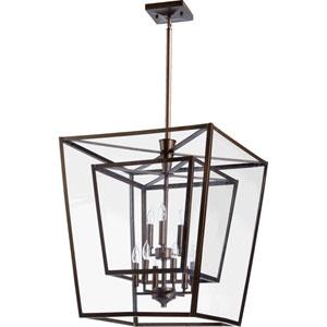 Kaufmann Oiled Bronze Nine Light Entry Light with Clear Glass