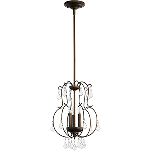 Ariel Vintage Copper Three-Light 13-Inch Mini Chandelier