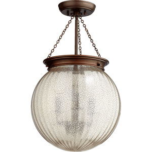 Globe Oiled Bronze 13-Inch Three-Light Pendant with Silver Mercury Glass