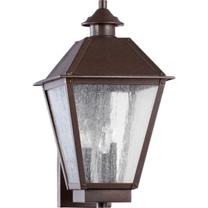 Emile Oiled Bronze Three Light Outdoor Wall Scone with Clear Seeded Glass