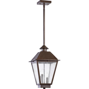 Emile Oiled Bronze Three Light Outdoor Pendant with Clear Seeded Glass