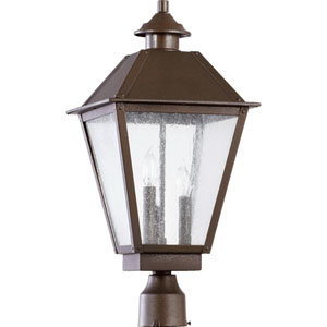Emile Oiled Bronze Three Light Outdoor Post Lantern with Clear Seeded Glass