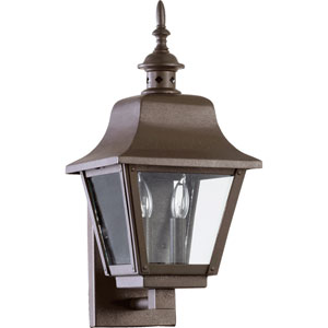 Bishop Oiled Bronze Two Light Outdoor Wall Scone with Clear Glass