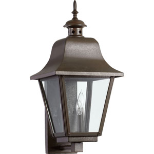 Bishop Oiled Bronze Three Light Outdoor Wall Scone with Clear Glass