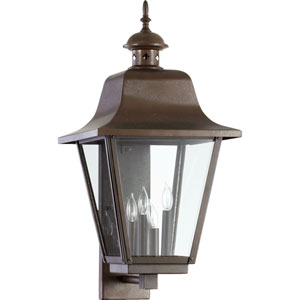 Bishop Oiled Bronze 28-Inch Four Light Outdoor Wall Sconce with Clear Glass