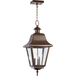 Bishop Oiled Bronze Three Light Outdoor Pendant with Clear Glass
