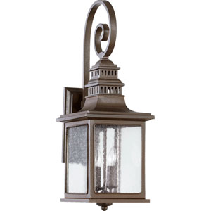 Magnolia Oiled Bronze Two Light Outdoor Wall Sconce with Clear Seeded Glass