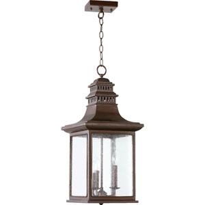 Magnolia Oiled Bronze Three Light Outdoor Pendant with Clear Seeded Glass