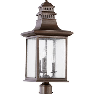 Magnolia Oiled Bronze Three Light Outdoor Post Lantern with Clear Seeded Glass