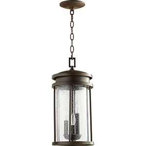 Hadley Oiled Bronze Three-Light 8-Inch Outdoor Pendant