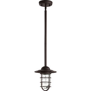 Bowery Oiled Bronze One-Light 7.5-Inch Outdoor Mini Pendant