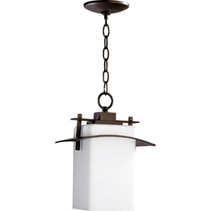 Kirkland Oiled Bronze One Light Outdoor Pendant with Satin Opal Glass