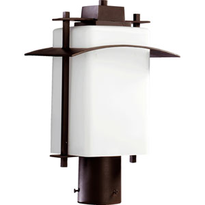 Kirkland Oiled Bronze One Light Outdoor Post Lantern with Satin Opal Glass