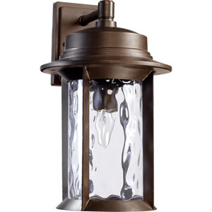 Charter Oiled Bronze One Light Outdoor Wall Lantern with Clear Hammered Glass