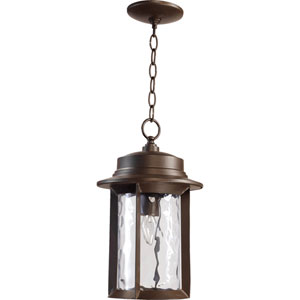 Charter Oiled Bronze One Light Outdoor Pendant with Clear Hammered Glass