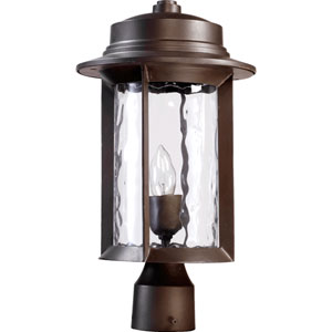 Charter Oiled Bronze One Light Outdoor Post Lantern with Clear Hammered Glass