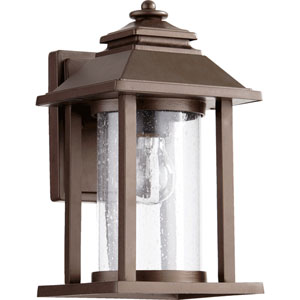 Crusoe Oiled Bronze One Light Outdoor Lantern with Clear Seeded Glass
