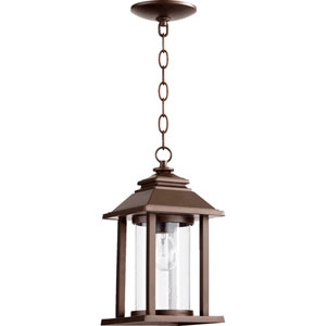 Crusoe Oiled Bronze One Light Outdoor Lantern with Clear Glass