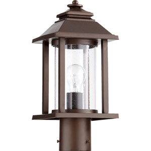 Crusoe Oiled Bronze One Light Outdoor Post Lantern with Seeded Glass
