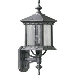 Huxley Small Up One-Light Rustic Silver Outdoor Wall Light