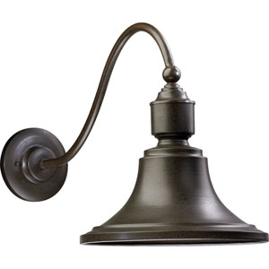 Industrial One-Light Oiled Bronze with Antique Gold Outdoor Wall Light