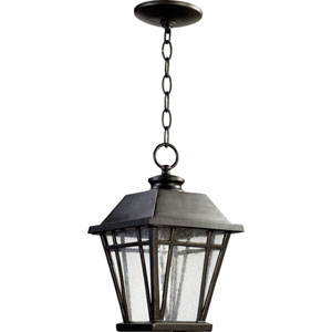 Baxter Old World One Light Outdoor Pendant with Clear Seeded Glass