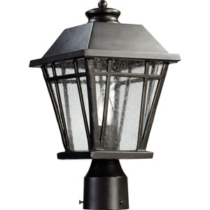 Baxter Old World One Light Outdoor Post Lantern with Clear Seeded Glass