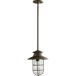 Moriarty Oiled Bronze One-Light 9.5-Inch Outdoor Pendant