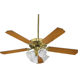 Capri V Polished Brass Four Light 52-Inch Without Blades Ceiling Fan