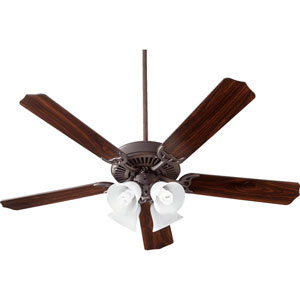 Capri V Oiled Bronze with Satin Opal Four-Light 52-Inch Ceiling Fan