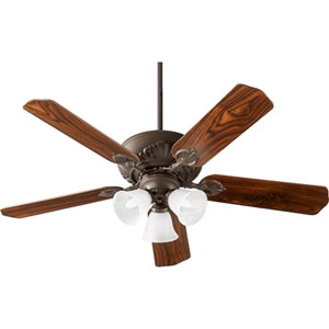 Chateaux Oiled Bronze with Faux Alabaster Three-Light 52-Inch Ceiling Fan