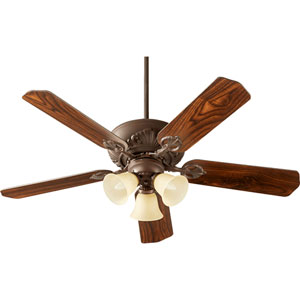 Chateaux Oiled Bronze with Amber Scavo Three-Light 52-Inch Ceiling Fan
