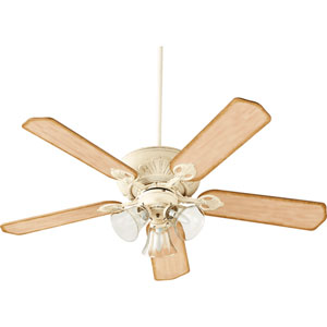Chateaux Persian White with Clear Seeded Glass Three-Light 52-Inch Ceiling Fan