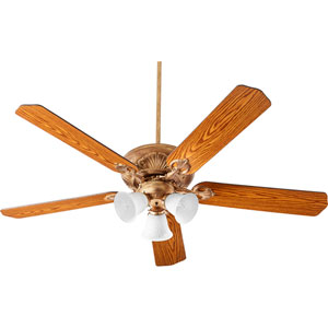 Chateaux Vintage Gold Leaf with White Linen Three-Light 60-Inch Ceiling Fan