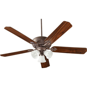 Chateaux Toasted Sienna with Faux Alabaster Three-Light 60-Inch Ceiling Fan