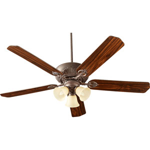 Chateaux Toasted Sienna with Amber Scavo Three-Light 60-Inch Ceiling Fan