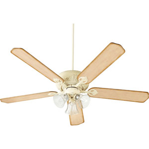 Chateaux Uni-Pack Persian White with Clear Seeded Glass Three-Light Ceiling Fan
