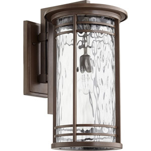 Larson Oiled Bronze with Clear Hammered Glass 11-Inch One-Light Outdoor Wall Mount