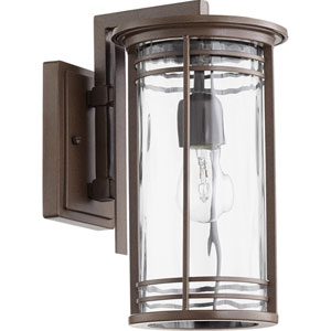 Larson Oiled Bronze with Clear Hammered Glass 7-Inch One-Light Outdoor Wall Mount