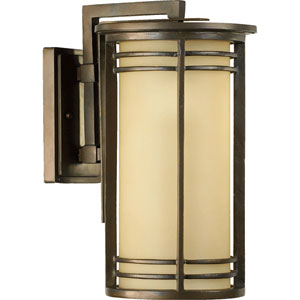 Larson One-Light Oiled Bronze with Antique Gold Outdoor Wall Light