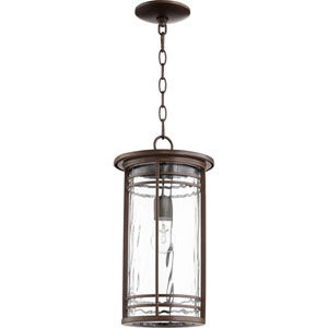 Larson Oiled Bronze with Clear Hammered Glass One-Light Outdoor Pendant