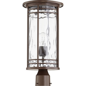 Larson Oiled Bronze with Clear Hammered Glass One-Light Outdoor Post Light