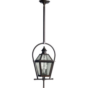 French Quarter Two-Light Oiled Bronze with Antique Gold Outdoor Pendant
