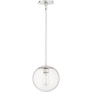 Polished Nickel One-Light 10-Inch Pendant