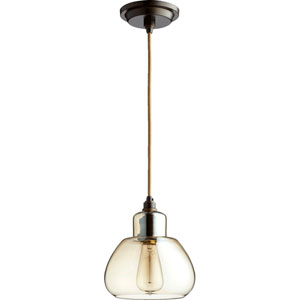 Filament Oiled Bronze 7.5-Inch One-Light Mini Pendant with Amber Glass