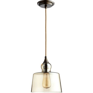 Filament Oiled Bronze 8.5-Inch One-Light Pendant with Amber Glass