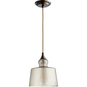 Filament Oiled Bronze 8.5-Inch One-Light Pendant with Silver Mercury Glass
