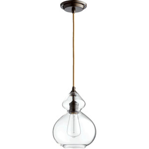 Filament Oiled Bronze 8-Inch One-Light Mini Pendant with Clear Glass