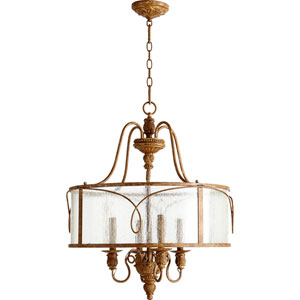 Salento French Umber 27.5-Inch Four Light Pendant with Clear Seeded Glass